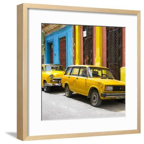 Cuba Fuerte Collection SQ - Two Yellow Cars in Havana-Philippe Hugonnard-Framed Art Print