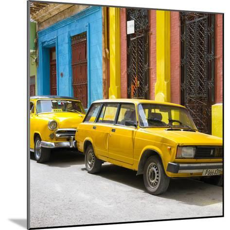 Cuba Fuerte Collection SQ - Two Yellow Cars in Havana-Philippe Hugonnard-Mounted Photographic Print