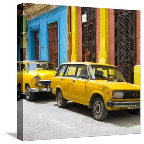 Cuba Fuerte Collection SQ - Two Yellow Cars in Havana-Philippe Hugonnard-Stretched Canvas Print