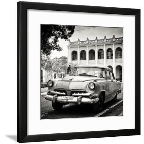 Cuba Fuerte Collection SQ BW - Retro Car in the Street-Philippe Hugonnard-Framed Art Print