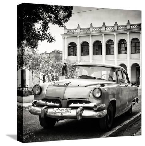 Cuba Fuerte Collection SQ BW - Retro Car in the Street-Philippe Hugonnard-Stretched Canvas Print