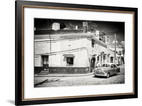 Cuba Fuerte Collection B&W - American Car in Trinidad-Philippe Hugonnard-Framed Art Print