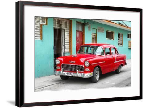 Cuba Fuerte Collection - Beautiful Classic American Red Car-Philippe Hugonnard-Framed Art Print