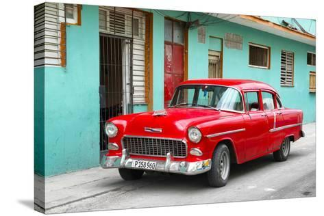 Cuba Fuerte Collection - Beautiful Classic American Red Car-Philippe Hugonnard-Stretched Canvas Print