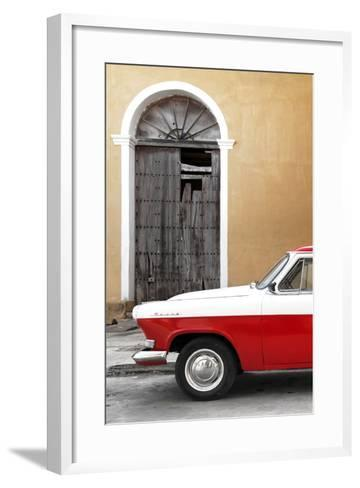 Cuba Fuerte Collection - Close-up of American Classic Car White and Red-Philippe Hugonnard-Framed Art Print