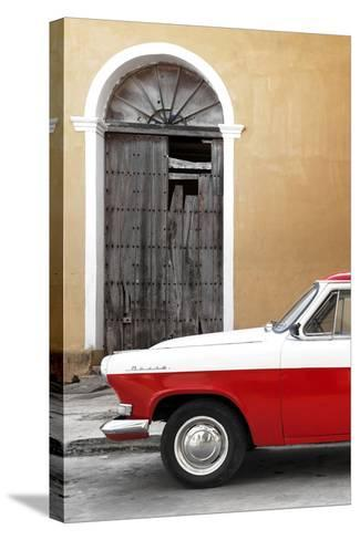 Cuba Fuerte Collection - Close-up of American Classic Car White and Red-Philippe Hugonnard-Stretched Canvas Print