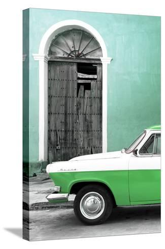 Cuba Fuerte Collection - Close-up of American Classic Car White and Green-Philippe Hugonnard-Stretched Canvas Print
