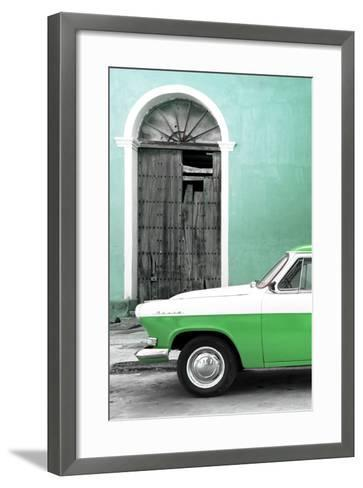 Cuba Fuerte Collection - Close-up of American Classic Car White and Green-Philippe Hugonnard-Framed Art Print