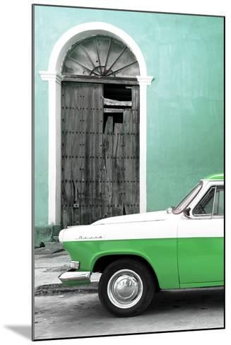 Cuba Fuerte Collection - Close-up of American Classic Car White and Green-Philippe Hugonnard-Mounted Photographic Print