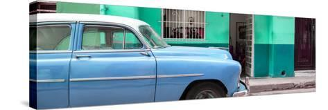 Cuba Fuerte Collection Panoramic - Vintage Blue Car of Havana-Philippe Hugonnard-Stretched Canvas Print