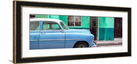 Cuba Fuerte Collection Panoramic - Vintage Blue Car of Havana-Philippe Hugonnard-Framed Art Print