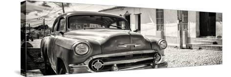 Cuba Fuerte Collection Panoramic BW - Cuban Chevy-Philippe Hugonnard-Stretched Canvas Print