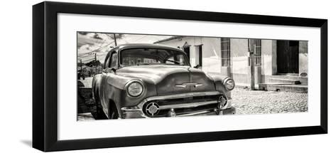 Cuba Fuerte Collection Panoramic BW - Cuban Chevy-Philippe Hugonnard-Framed Art Print