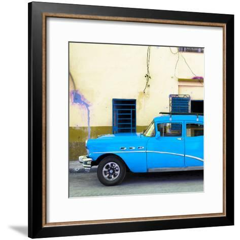 Cuba Fuerte Collection SQ - Havana Classic American Blue Car-Philippe Hugonnard-Framed Art Print