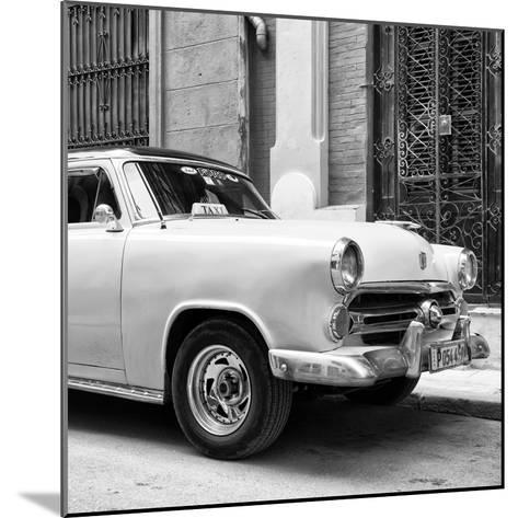 Cuba Fuerte Collection SQ BW - Close-up of Yellow Taxi of Havana-Philippe Hugonnard-Mounted Photographic Print