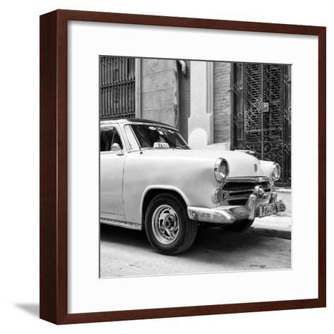 Cuba Fuerte Collection SQ BW - Close-up of Yellow Taxi of Havana-Philippe Hugonnard-Framed Art Print