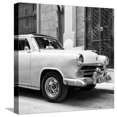 Cuba Fuerte Collection SQ BW - Close-up of Yellow Taxi of Havana-Philippe Hugonnard-Stretched Canvas Print