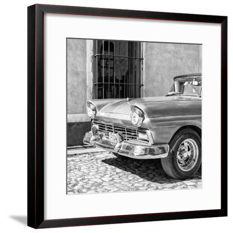 Cuba Fuerte Collection SQ BW- Close-up of American Classic Car-Philippe Hugonnard-Framed Art Print