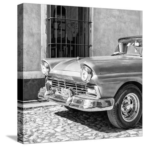 Cuba Fuerte Collection SQ BW- Close-up of American Classic Car-Philippe Hugonnard-Stretched Canvas Print