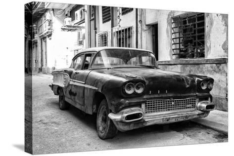 Cuba Fuerte Collection B&W - Old American Pontiac-Philippe Hugonnard-Stretched Canvas Print