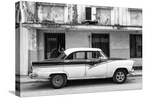 Cuba Fuerte Collection B&W - Classic American Car in Havana Street II-Philippe Hugonnard-Stretched Canvas Print