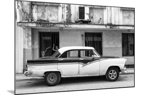 Cuba Fuerte Collection B&W - Classic American Car in Havana Street II-Philippe Hugonnard-Mounted Photographic Print