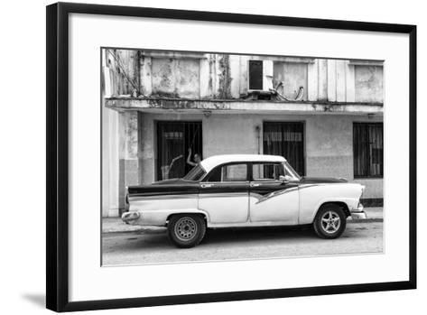 Cuba Fuerte Collection B&W - Classic American Car in Havana Street II-Philippe Hugonnard-Framed Art Print