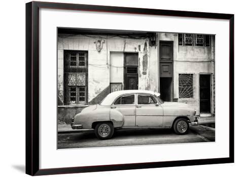 Cuba Fuerte Collection B&W - Classic American Car in Havana Street III-Philippe Hugonnard-Framed Art Print