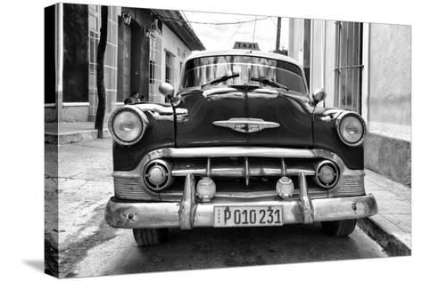 Cuba Fuerte Collection B&W - Retro Taxi III-Philippe Hugonnard-Stretched Canvas Print