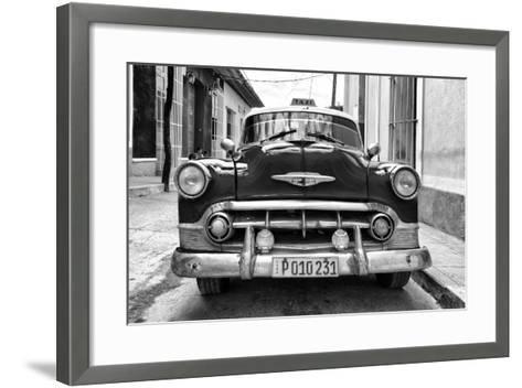 Cuba Fuerte Collection B&W - Retro Taxi III-Philippe Hugonnard-Framed Art Print