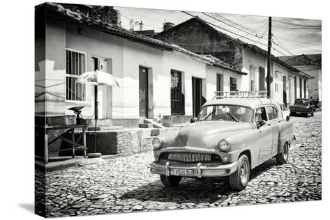 Cuba Fuerte Collection B&W - Cuban Taxi in Trinidad II-Philippe Hugonnard-Stretched Canvas Print
