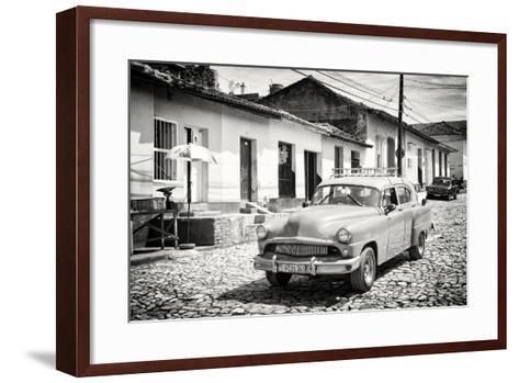 Cuba Fuerte Collection B&W - Cuban Taxi in Trinidad II-Philippe Hugonnard-Framed Art Print