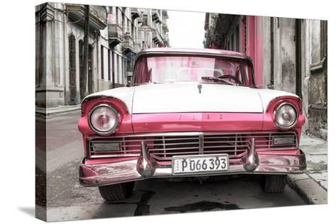 Cuba Fuerte Collection - Old Ford Pink Car-Philippe Hugonnard-Stretched Canvas Print