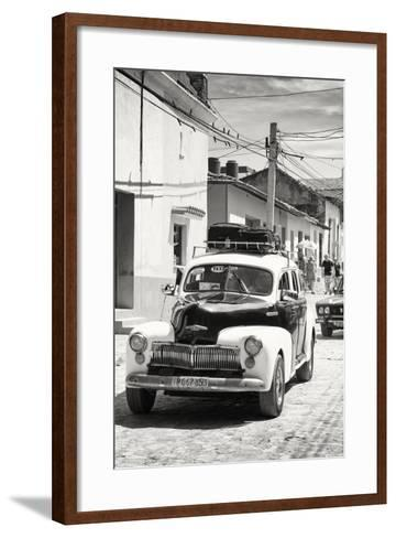 Cuba Fuerte Collection B&W - Classic Car Taxi-Philippe Hugonnard-Framed Art Print