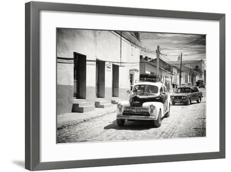 Cuba Fuerte Collection B&W - Classic Cars Taxis-Philippe Hugonnard-Framed Art Print