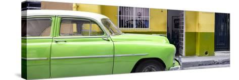 Cuba Fuerte Collection Panoramic - Vintage Green Car of Havana-Philippe Hugonnard-Stretched Canvas Print