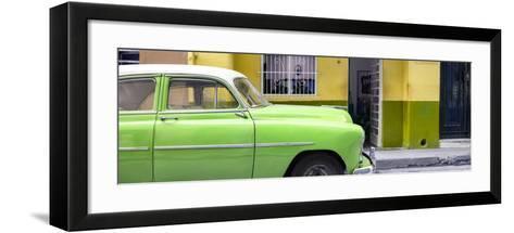 Cuba Fuerte Collection Panoramic - Vintage Green Car of Havana-Philippe Hugonnard-Framed Art Print