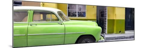 Cuba Fuerte Collection Panoramic - Vintage Green Car of Havana-Philippe Hugonnard-Mounted Photographic Print