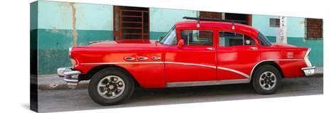 Cuba Fuerte Collection Panoramic - Havana Classic American Red Car-Philippe Hugonnard-Stretched Canvas Print
