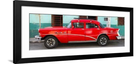 Cuba Fuerte Collection Panoramic - Havana Classic American Red Car-Philippe Hugonnard-Framed Art Print
