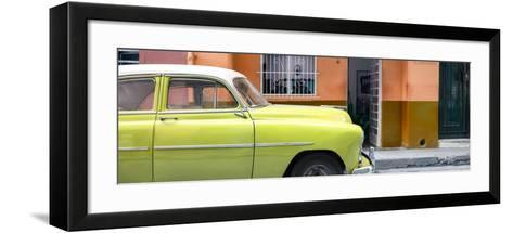 Cuba Fuerte Collection Panoramic - Vintage Lime Green Car of Havana-Philippe Hugonnard-Framed Art Print
