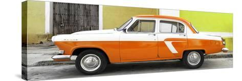 Cuba Fuerte Collection Panoramic - American Classic Car White and Orange-Philippe Hugonnard-Stretched Canvas Print