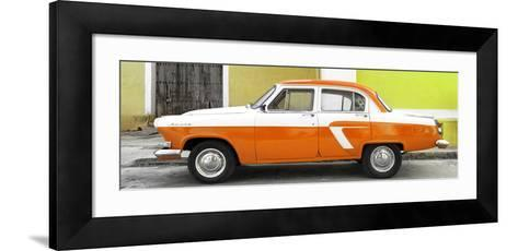 Cuba Fuerte Collection Panoramic - American Classic Car White and Orange-Philippe Hugonnard-Framed Art Print