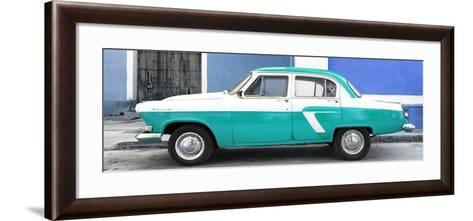 Cuba Fuerte Collection Panoramic - American Classic Car White and Turquoise-Philippe Hugonnard-Framed Art Print