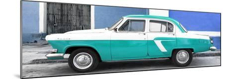 Cuba Fuerte Collection Panoramic - American Classic Car White and Turquoise-Philippe Hugonnard-Mounted Photographic Print