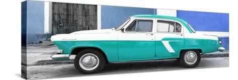 Cuba Fuerte Collection Panoramic - American Classic Car White and Turquoise-Philippe Hugonnard-Stretched Canvas Print