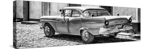 Cuba Fuerte Collection Panoramic BW - Old American Classic Car II-Philippe Hugonnard-Stretched Canvas Print