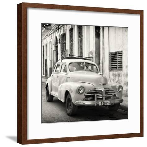 Cuba Fuerte Collection SQ BW - Old Chevrolet in Havana-Philippe Hugonnard-Framed Art Print