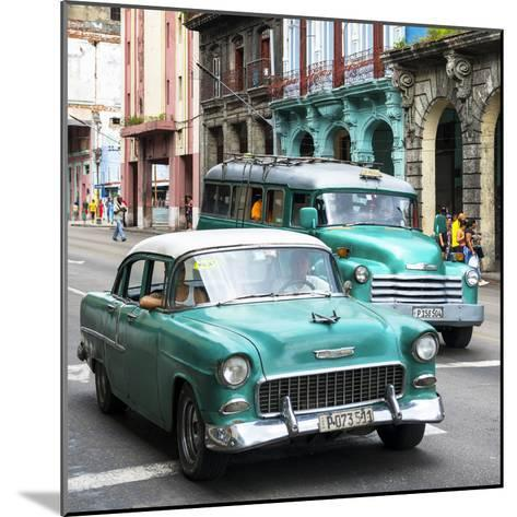 Cuba Fuerte Collection SQ - Green Taxi Cars Havana-Philippe Hugonnard-Mounted Photographic Print