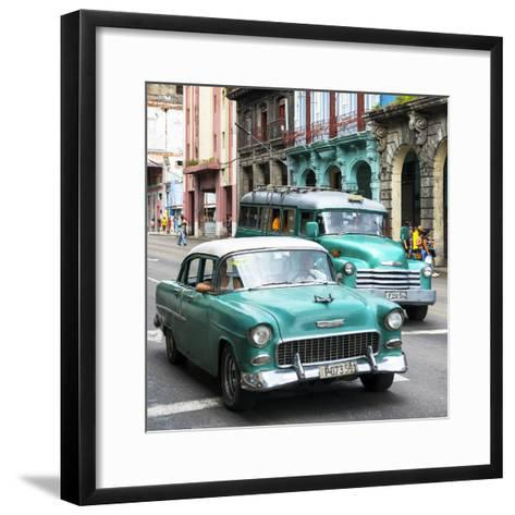 Cuba Fuerte Collection SQ - Green Taxi Cars Havana-Philippe Hugonnard-Framed Art Print